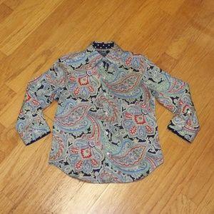 Chaps Petite No Iron size PXS 3/4 sleeve blouse